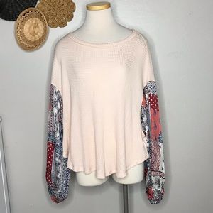 Long Sleeve Pink Waffle Knit Floral Sleeve L